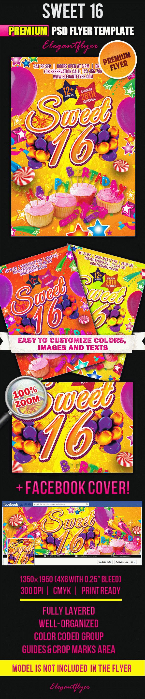 Sweet 16 – Flyer PSD Template + Facebook Cover