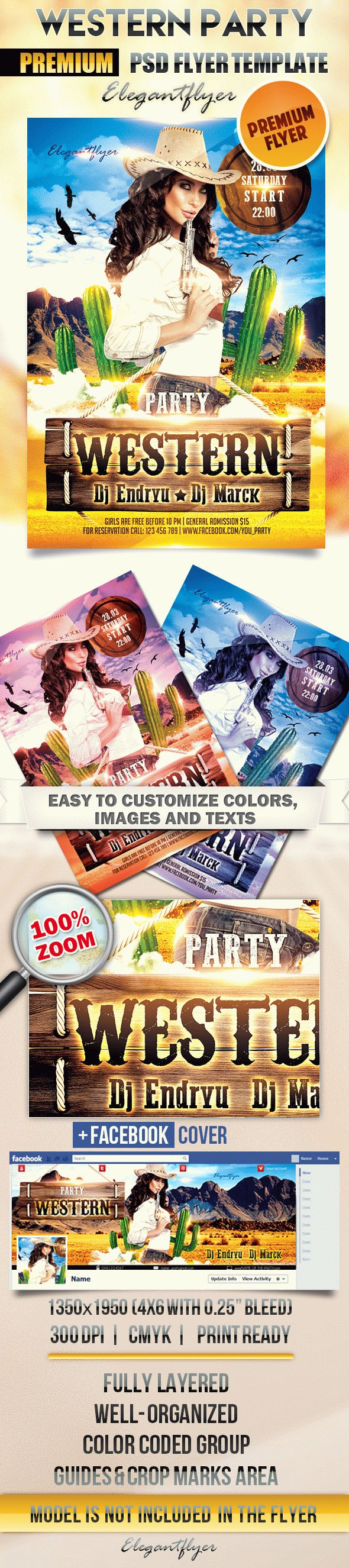 Western Party – Flyer PSD Template + Facebook Cover