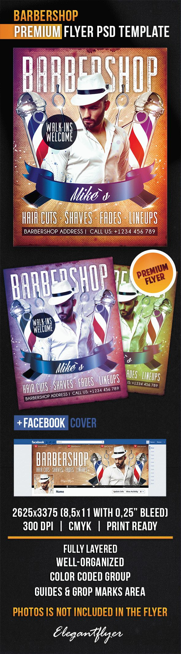 Vip Barbershop PSD Flyer