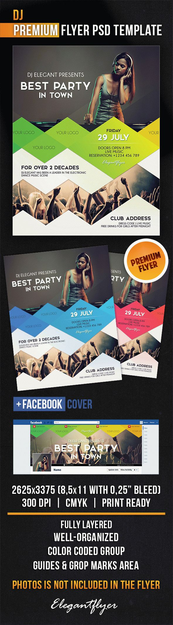 Dj – Flyer PSD Template + Facebook Cover