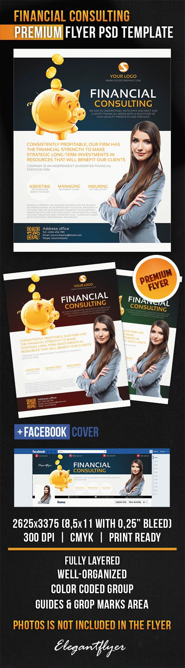 Financial Consulting – Flyer PSD Template + Facebook Cover