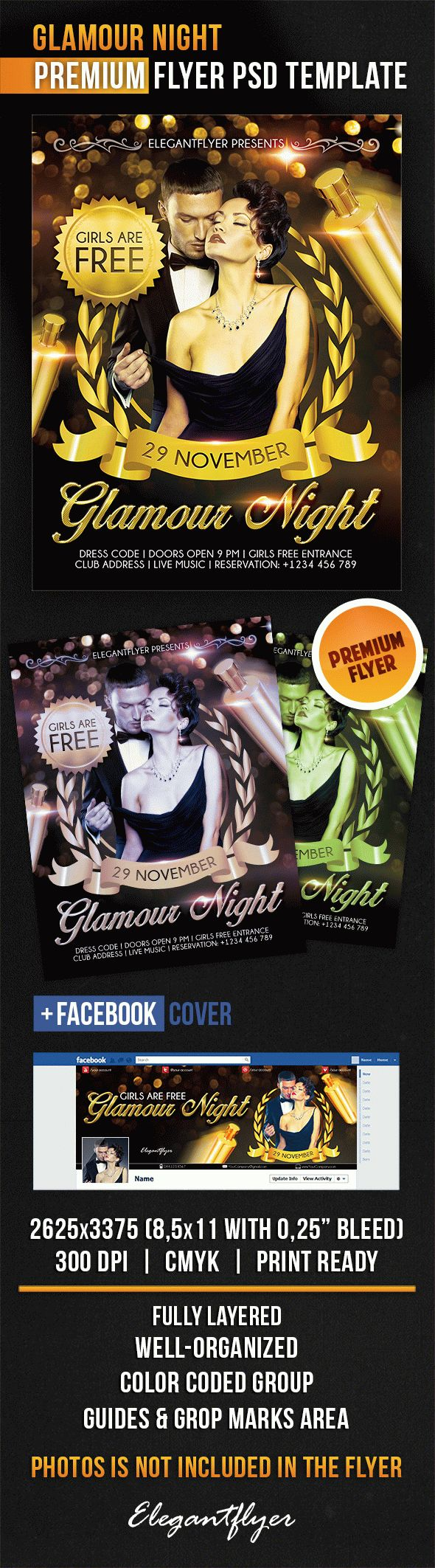 Glamour Night – Flyer PSD Template