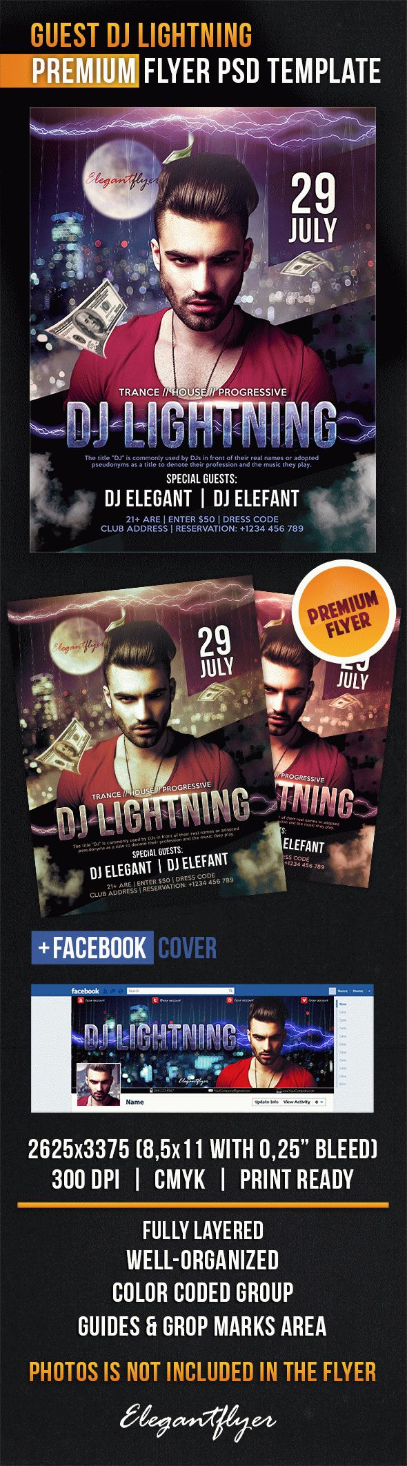 Guest DJ Lightning – Flyer PSD Template + Facebook Cover