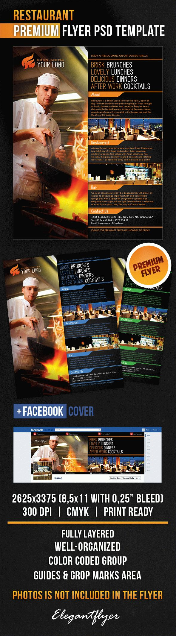 Restaurant – Flyer PSD Template + Facebook Cover