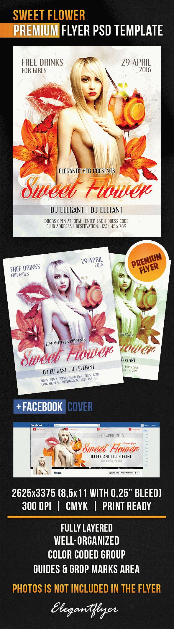 Sweet Flower – Flyer PSD Template + Facebook Cover