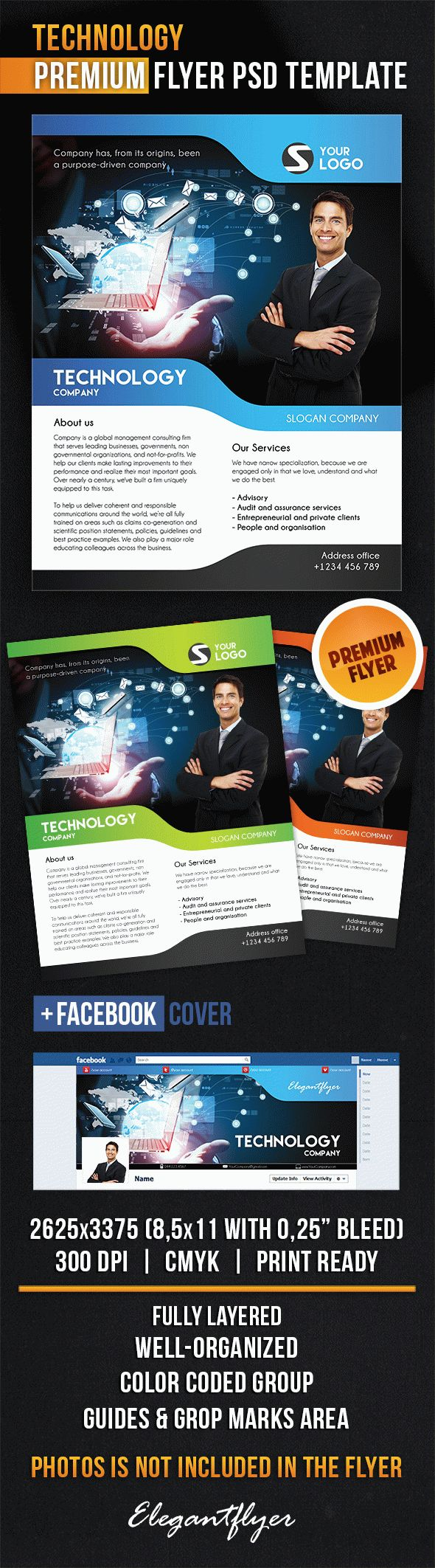 Technology Flyer PSD Template Facebook Cover By ElegantFlyer - Technology brochure template