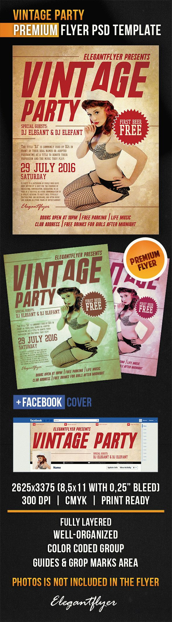 Vintage Music Party Flyer in PSD