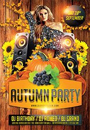 Autumn Woods Party – Flyer PSD Template + Facebook Cover