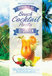 Summer Cocktails – Flyer PSD Template + Facebook Cover