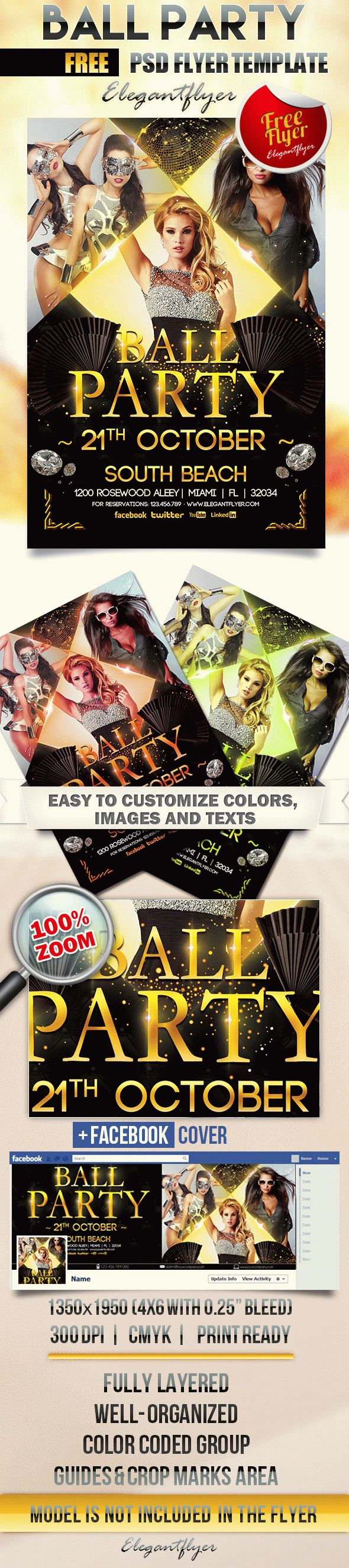 Ball Party – Flyer PSD Template + Facebook Cover
