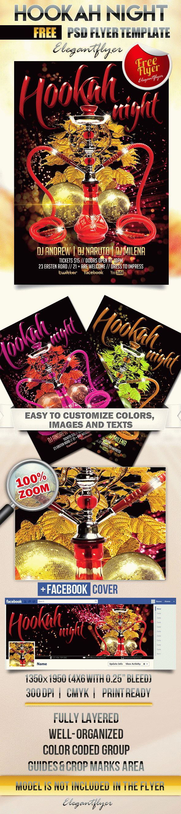 Hookah Night – Free Flyer PSD Template + Facebook Cover