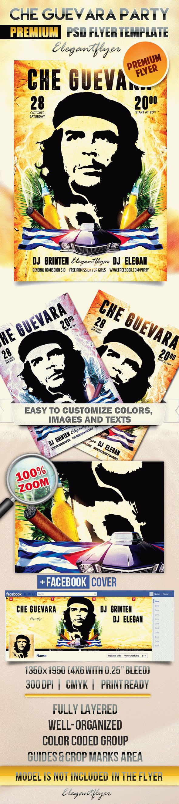 Che Guevara party – Flyer PSD Template + Facebook Cover