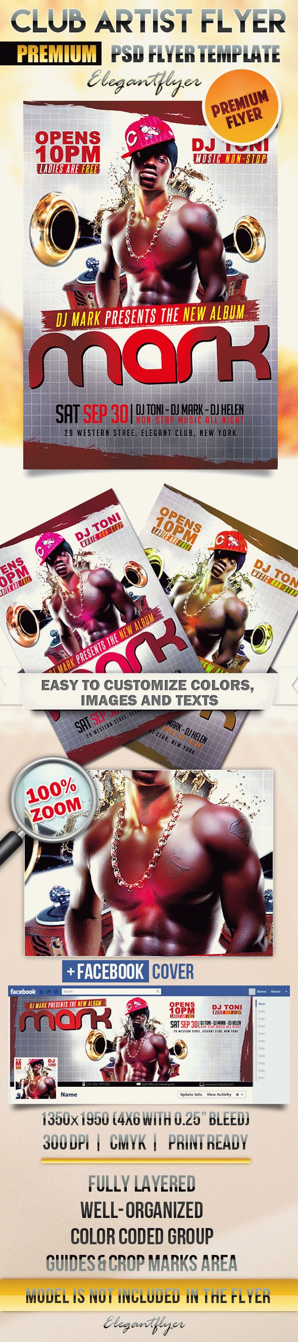 Club Artist Flyer – Flyer PSD Template + Facebook Cover