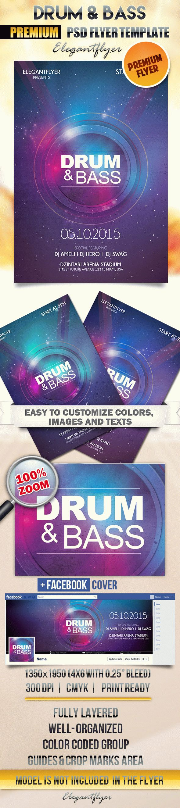 Drum Bass – Flyer PSD Template + Facebook Cover