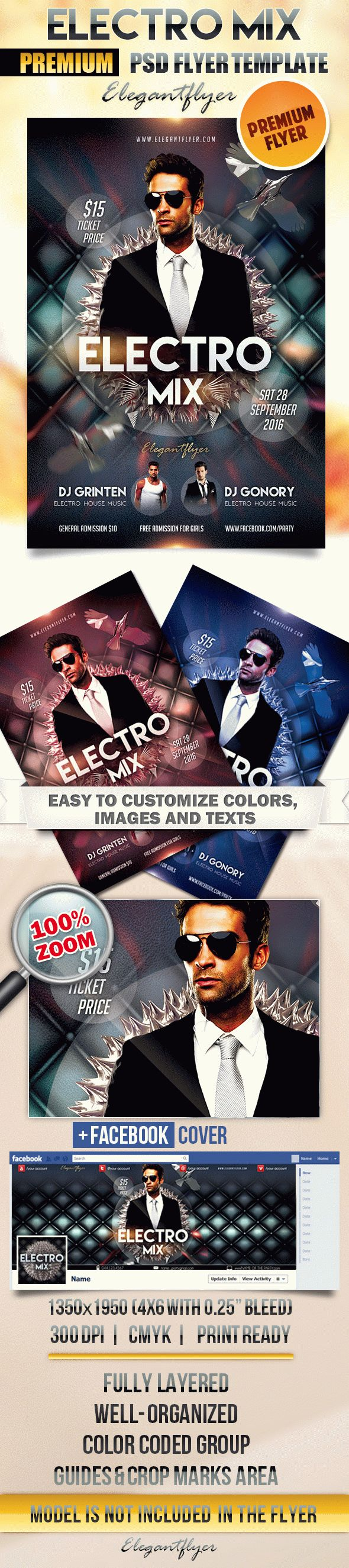 Electro Mix – Flyer PSD Template + Facebook Cover