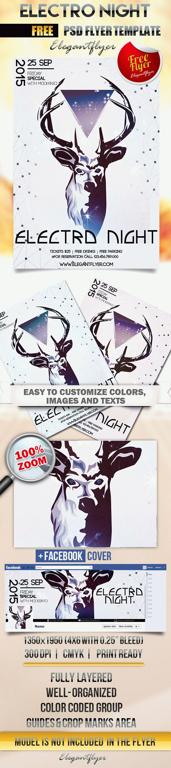 Electro Night – Free Flyer PSD Template + Facebook Cover