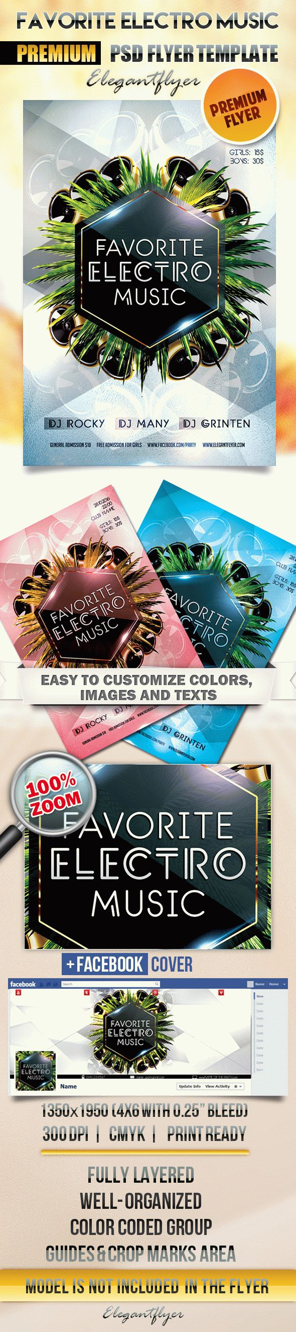 Favorite Electro Music – Flyer PSD Template + Facebook Cover