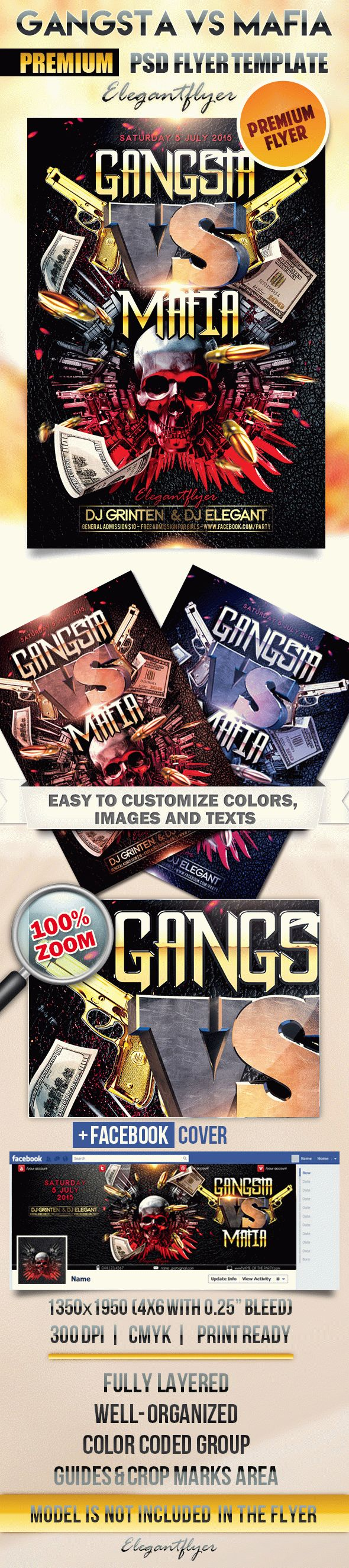 Gangsta vs Mafia – Flyer PSD Template + Facebook Cover