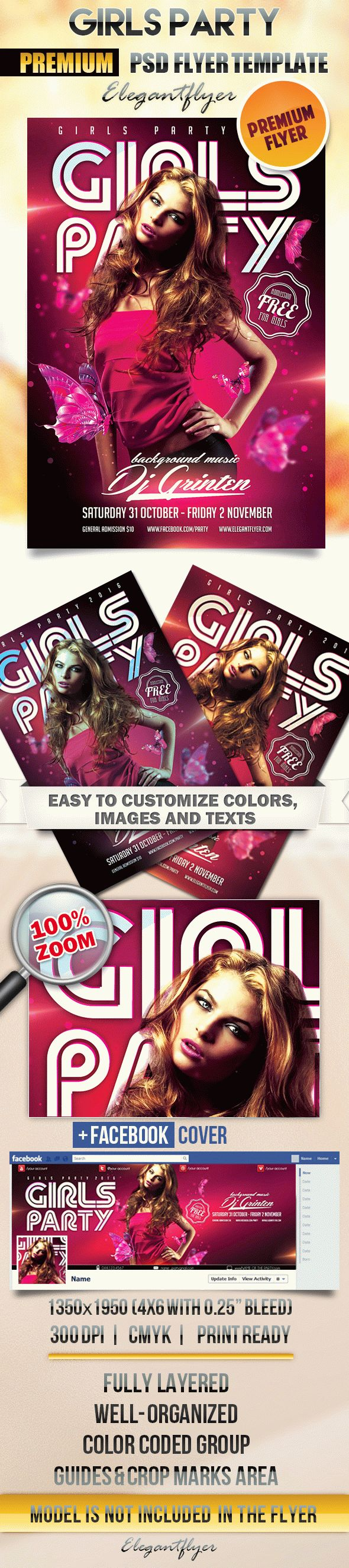 Girls Party – Flyer PSD Template + Facebook Cover