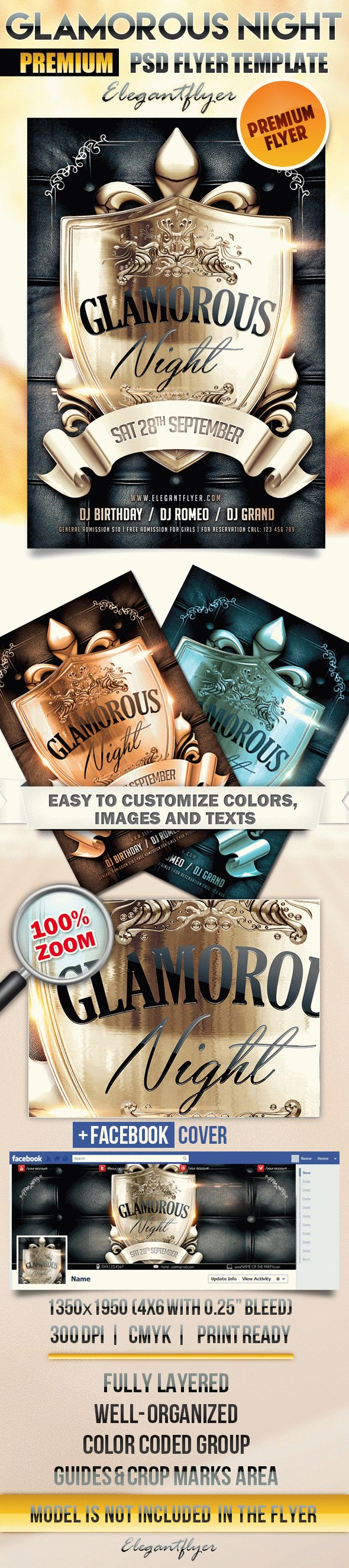 Glamorous Night – Flyer PSD Template + Facebook Cover