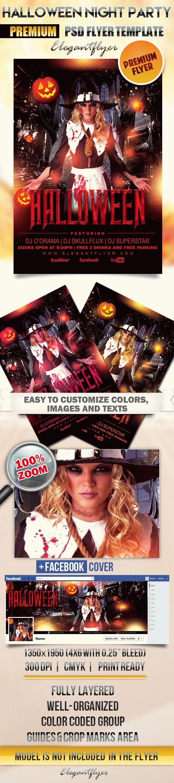 Halloween Night Party – Flyer PSD Template + Facebook Cover