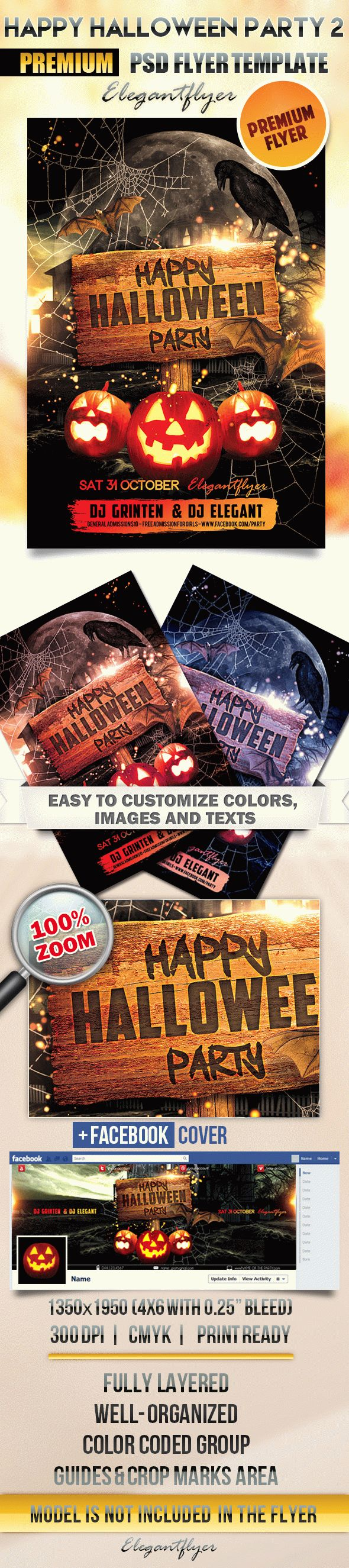 Happy Halloween party 2 – Flyer PSD Template + Facebook Cover – by ...