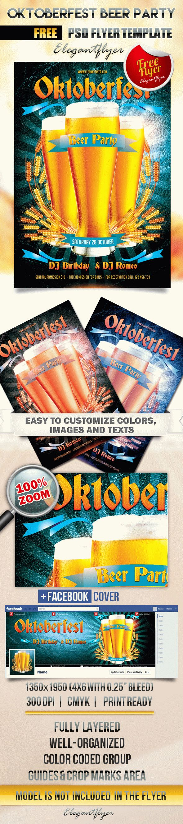 Oktoberfest Beer Party – Flyer PSD Template + Facebook Cover