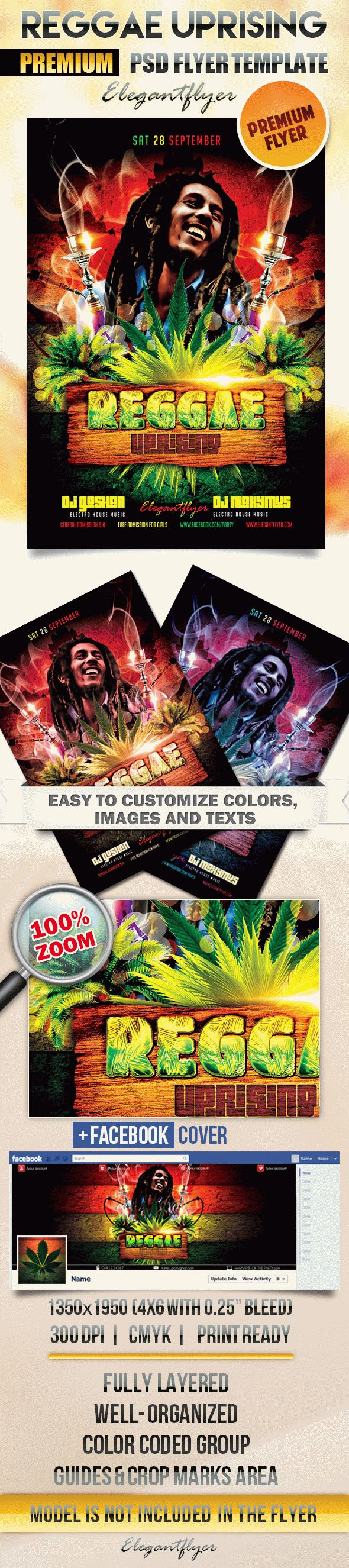Reggae Uprising – Flyer PSD Template + Facebook Cover