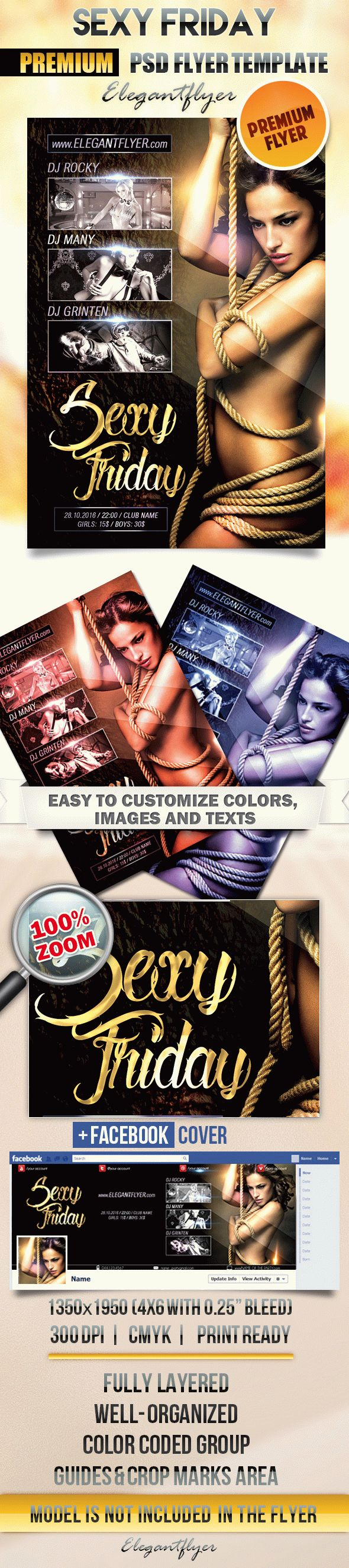 Sexy Friday – Flyer PSD Template + Facebook Cover