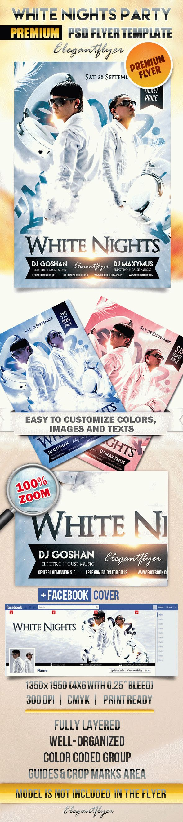White Nights Party – Flyer PSD Template + Facebook Cover