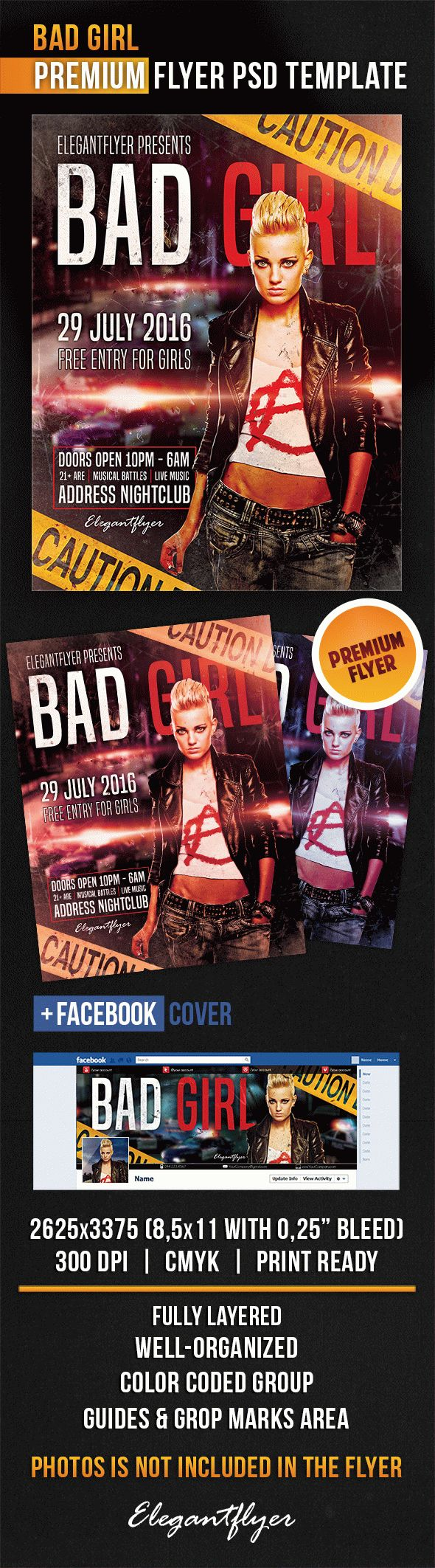 Bad Girl – Flyer PSD Template + Facebook Cover