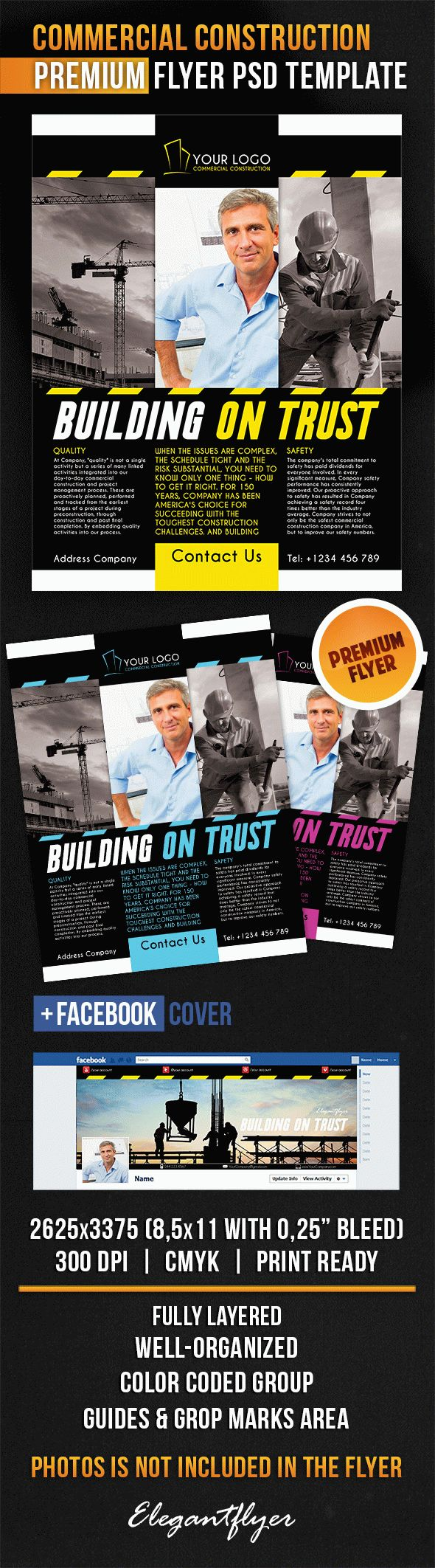 Commercial Construction – Flyer PSD Template + Facebook Cover