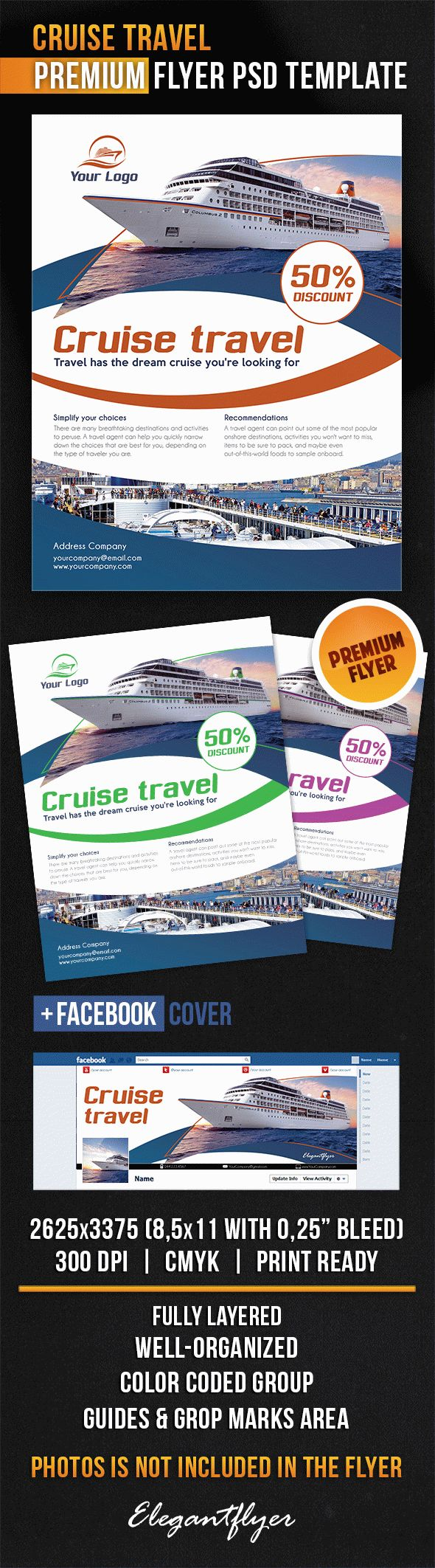 Cruise Travel – Flyer PSD Template + Facebook Cover