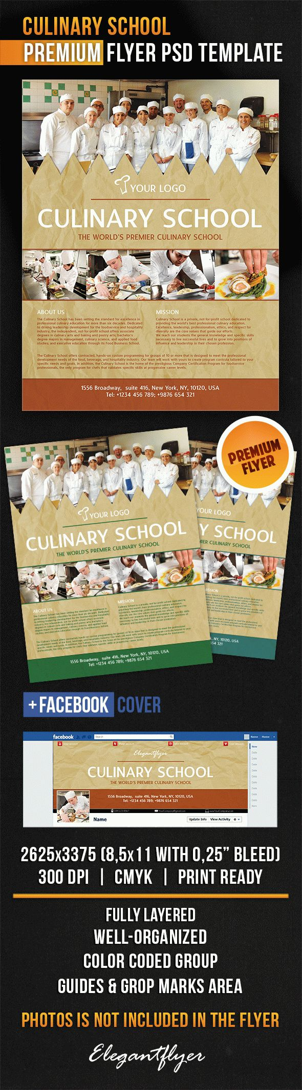 Culinary School – Flyer PSD Template + Facebook Cover