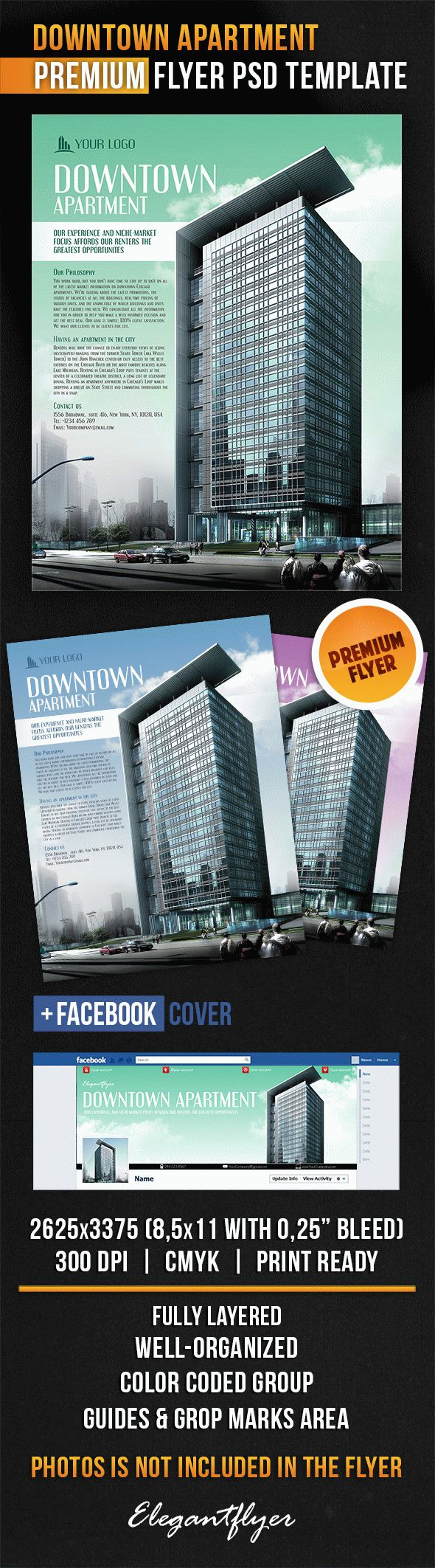 Downtown Apartment – Flyer PSD Template + Facebook Cover