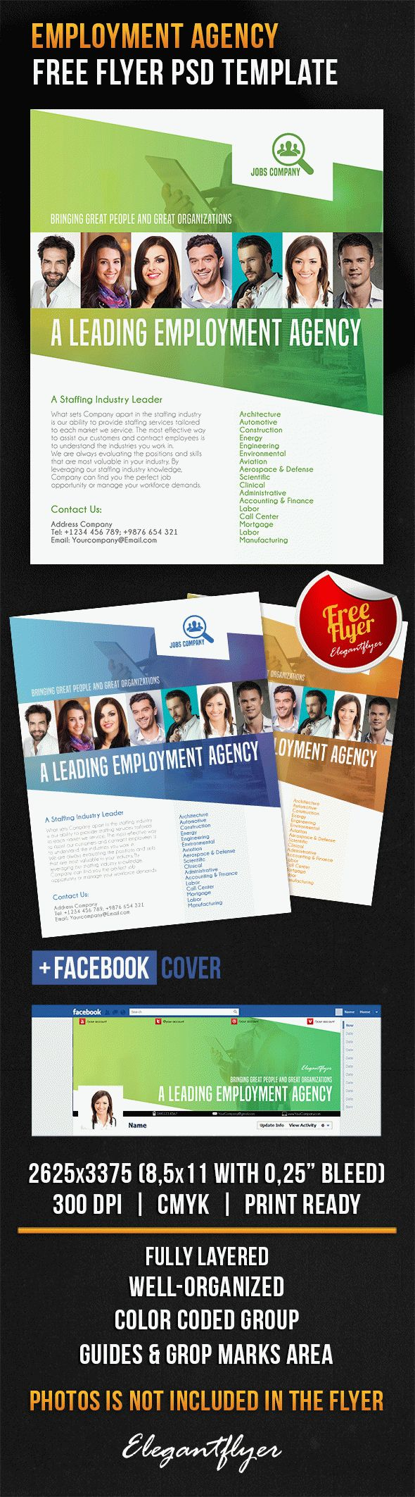 Employment Agency – Free Flyer PSD Template + Facebook Cover