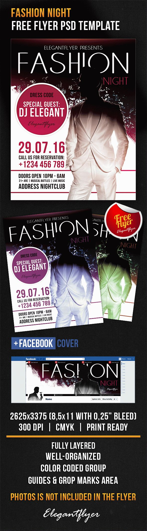 Fashion Night – Free Flyer PSD Template + Facebook Cover