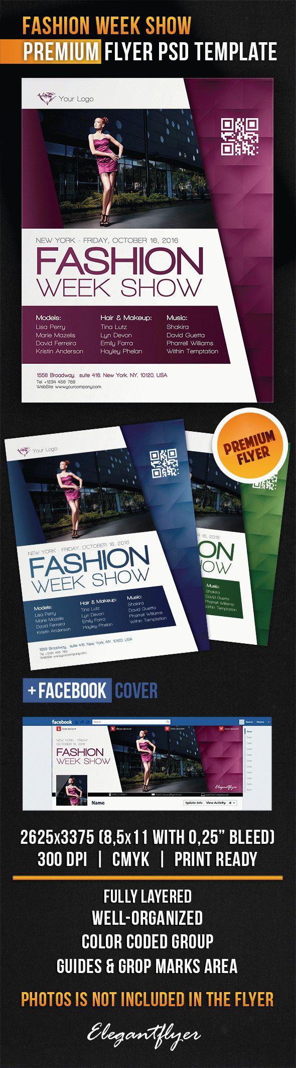 Fashion Week Show – Flyer PSD Template + Facebook Cover