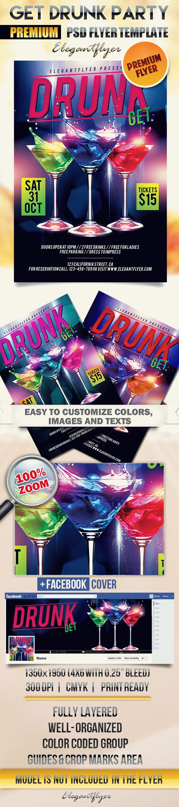 Get Drunk Party – Flyer PSD Template