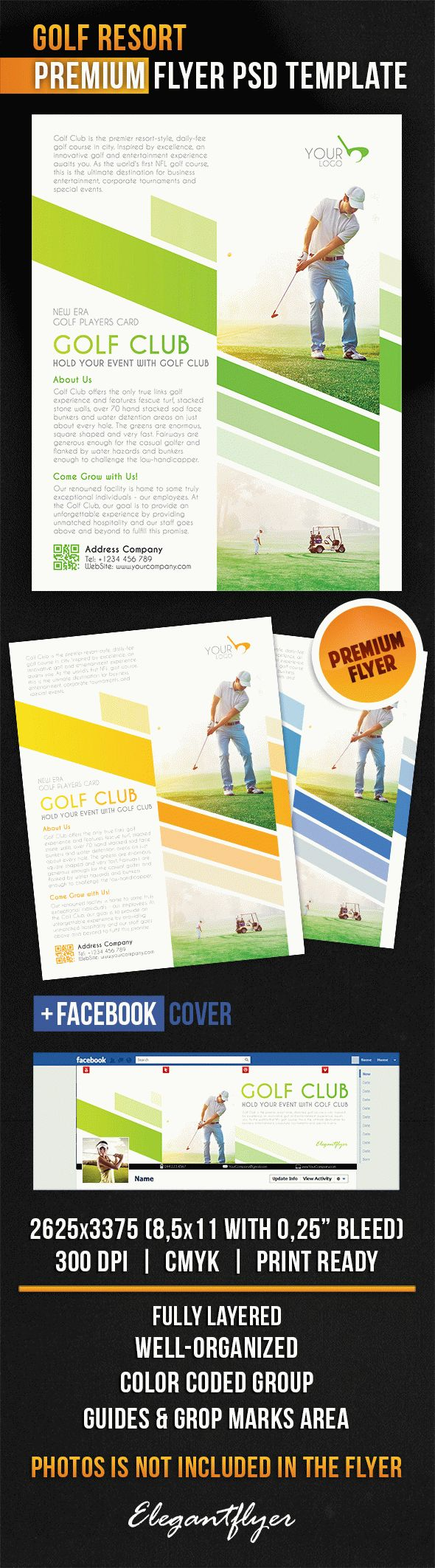 Golf Resort – Flyer PSD Template + Facebook Cover