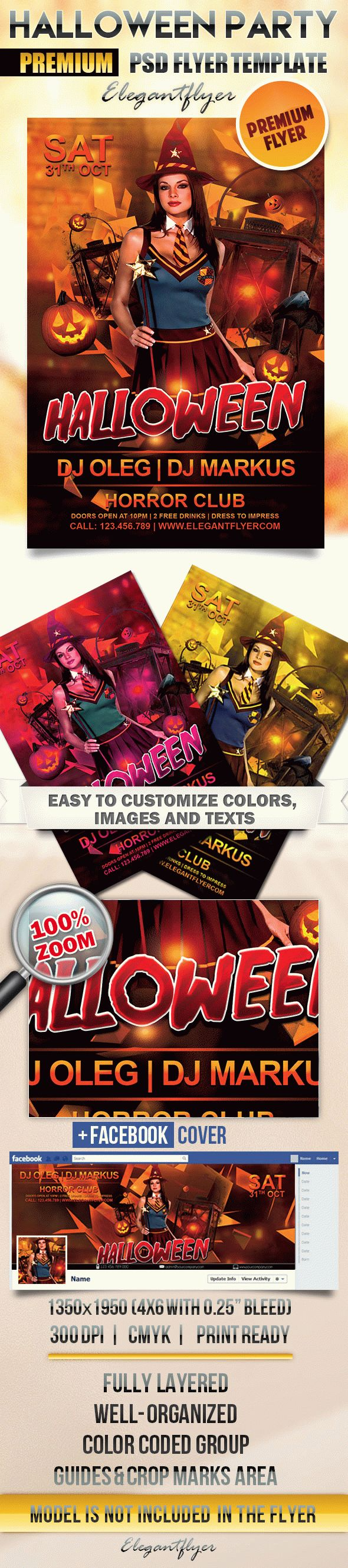 Halloween – Flyer PSD Template + Facebook Cover