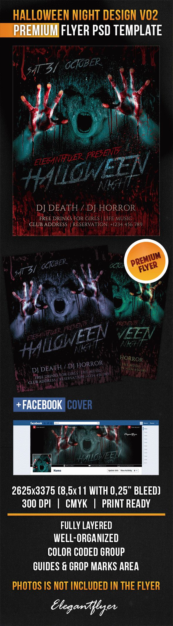 Halloween Night Design V02 – Flyer PSD Template + Facebook Cover