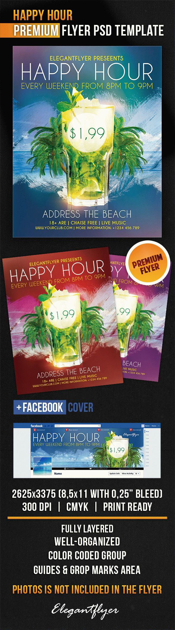 Happy Hour Cocktails PSD Flyer