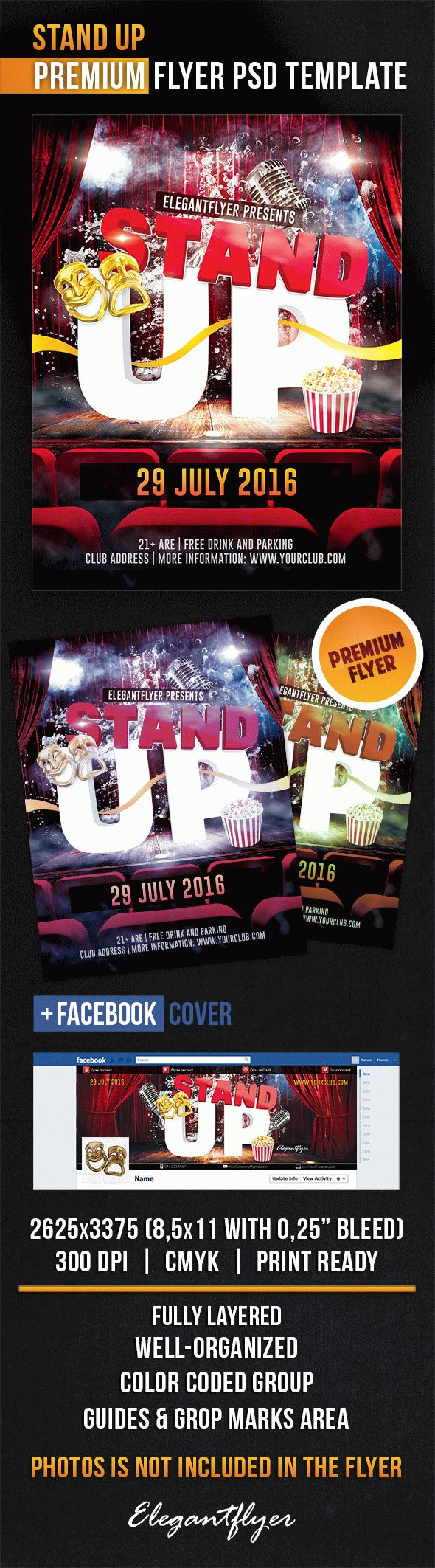 Stand Up – Flyer PSD Template + Facebook Cover
