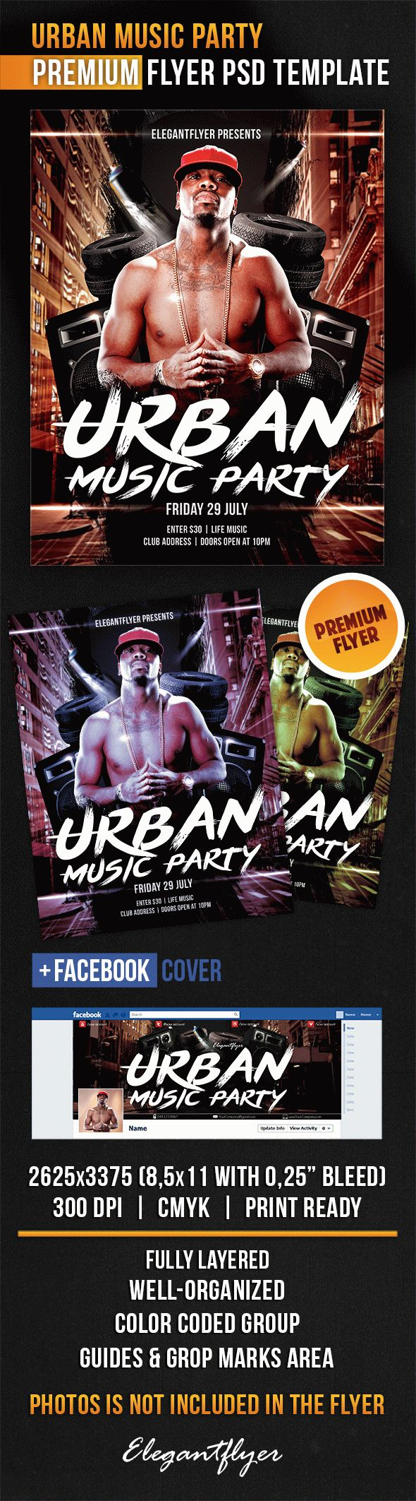 Urban Music Party – Flyer PSD Template + Facebook Cover