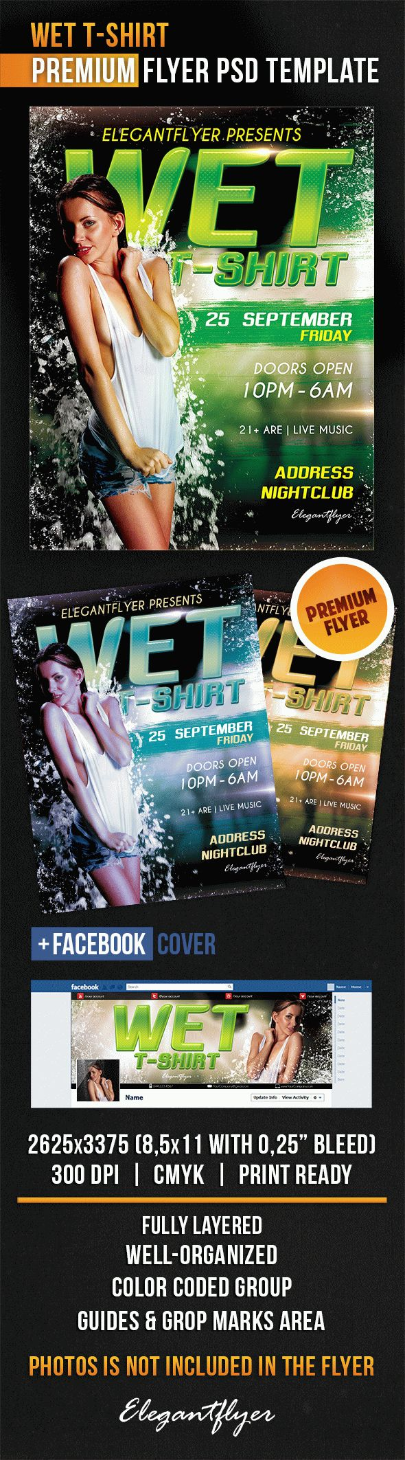 Wet T-Shirt – Flyer PSD Template + Facebook Cover
