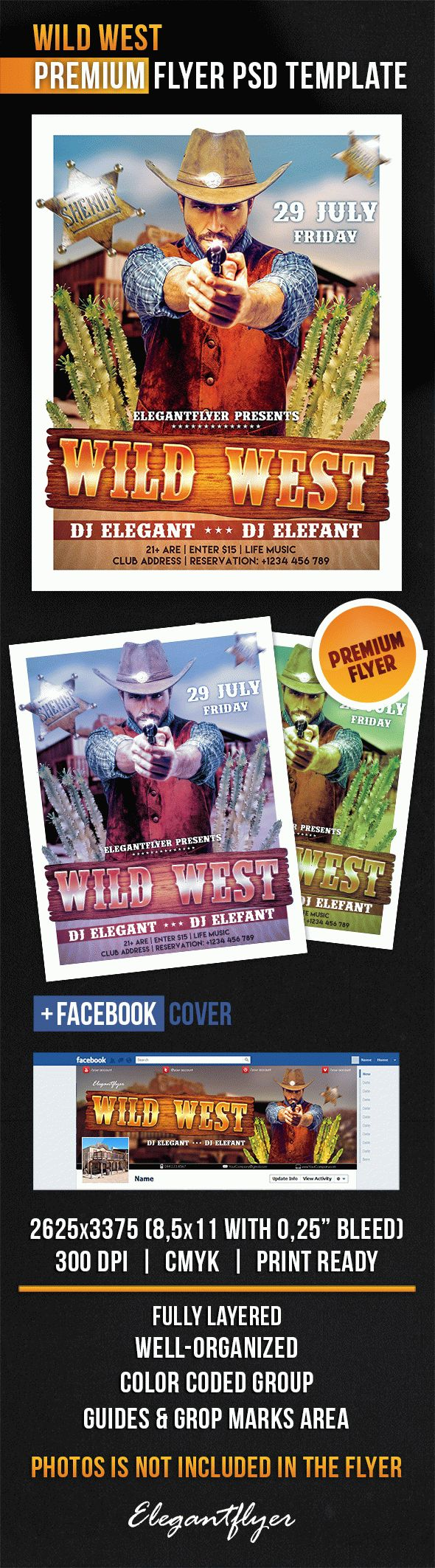 Wild West – Flyer PSD Template + Facebook Cover