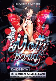 Moth party – Flyer PSD Template