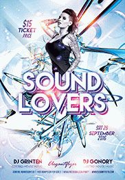 Sound Lovers – Flyer PSD Template + Facebook Cover