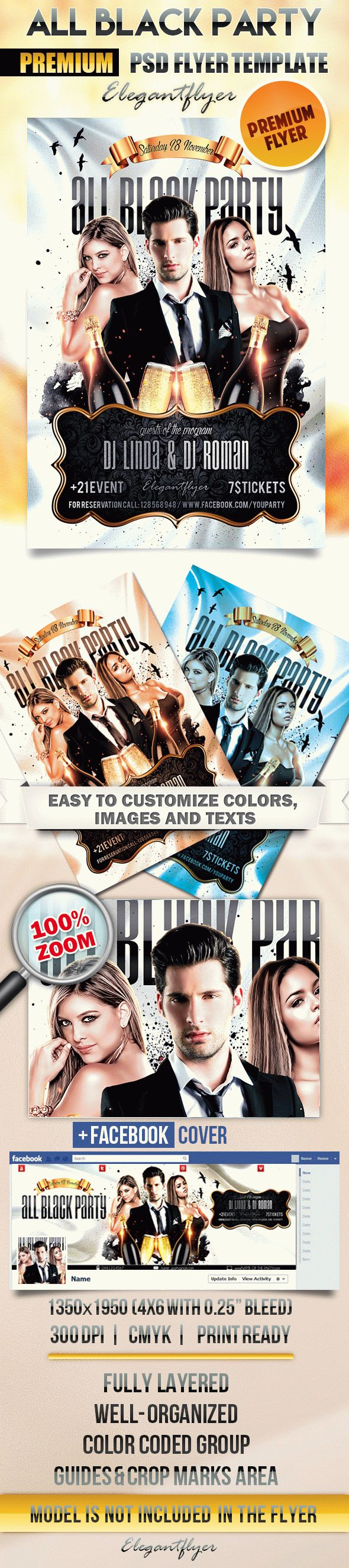 All Black Party – Flyer PSD Template + Facebook Cover